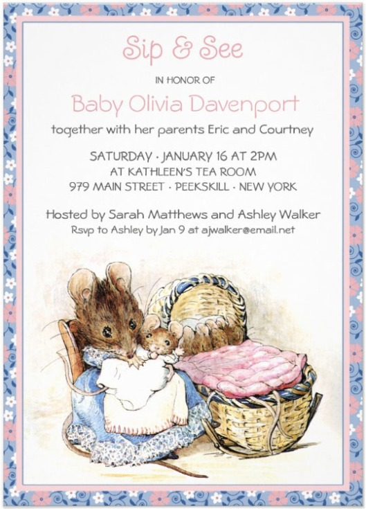 Beatrix Potter Mother Mouse Sip and See Invitation Calico